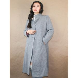 crossing the channel english grey wool long coat